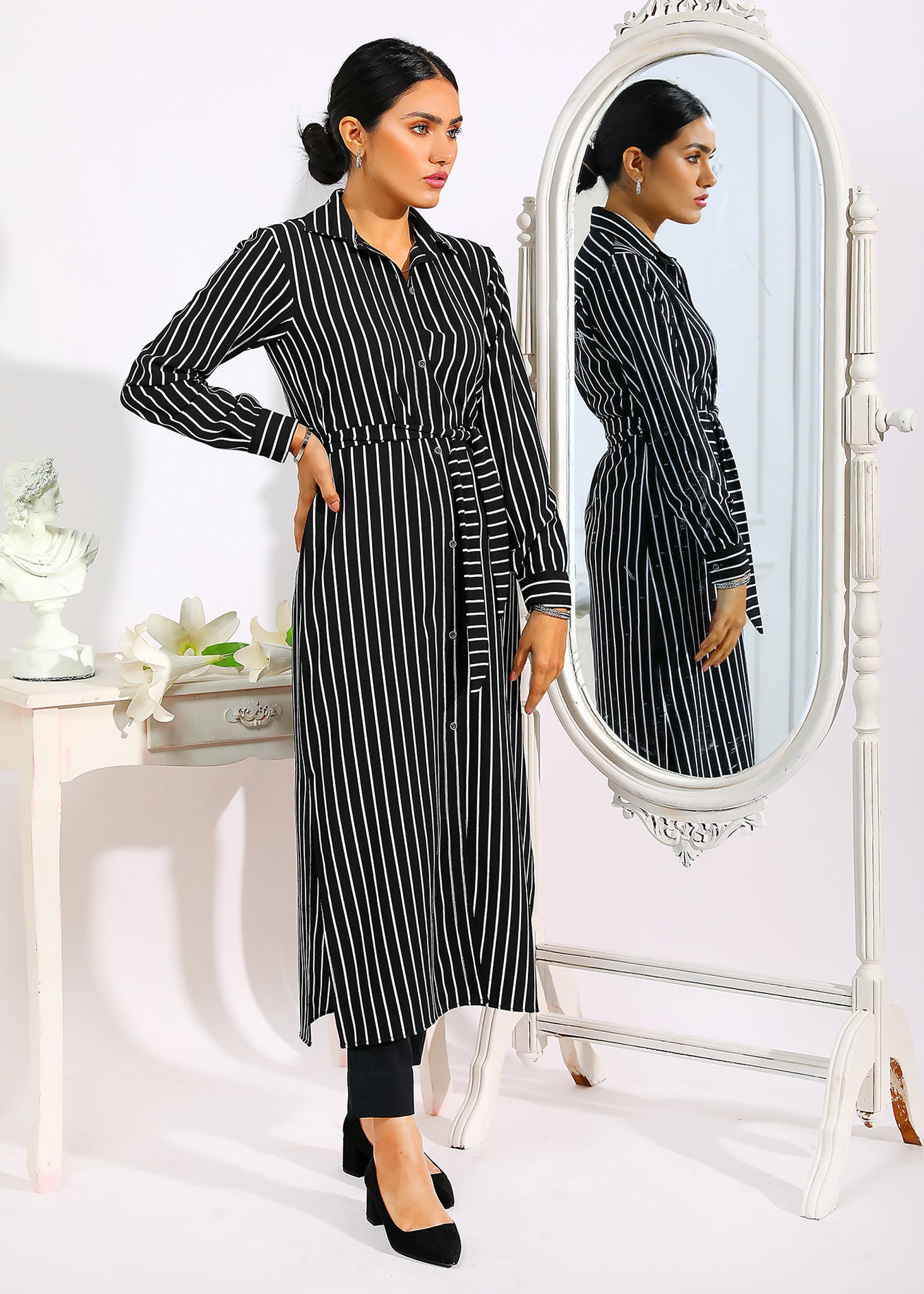 Black and White Stripe Shirt Dress