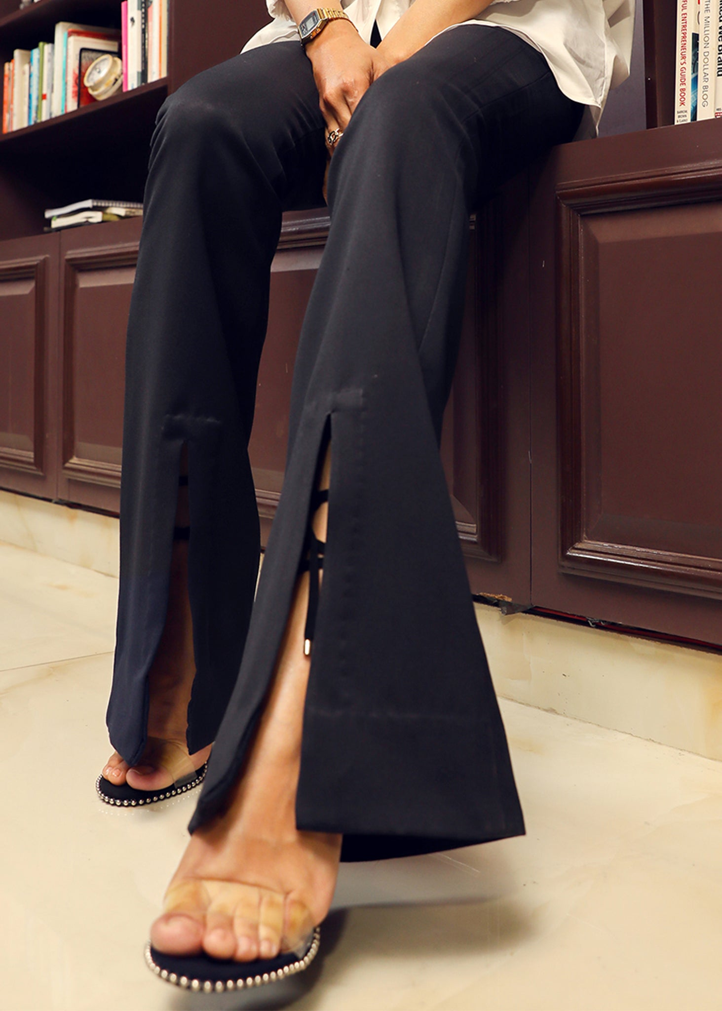 Classic Black Bell Bottoms with Front Slit