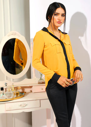 Mustard and Black Blouse