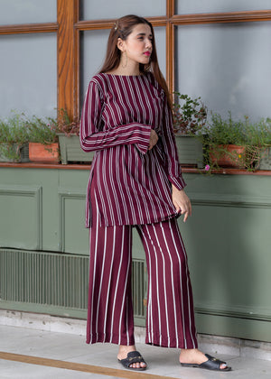Maroon Stripes Long Sleeves Shirt with Culottes
