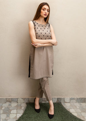 Khaki Kurta with Black Flowers and Straight Pant with Black Detailing