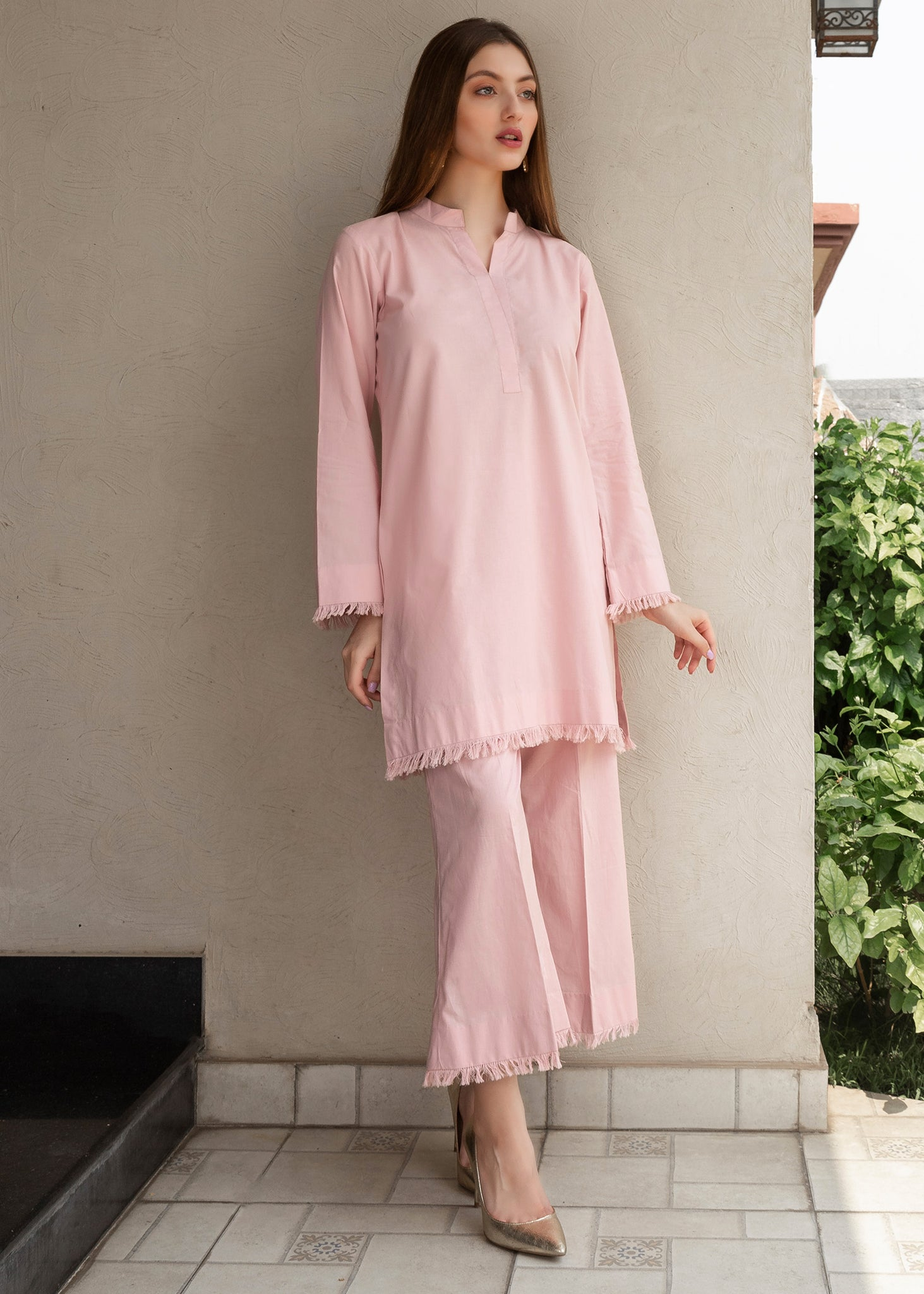 Tea Pink Co Ord With frayed edging