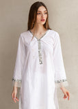 White Chicken Kurta with lace detail and organza edging