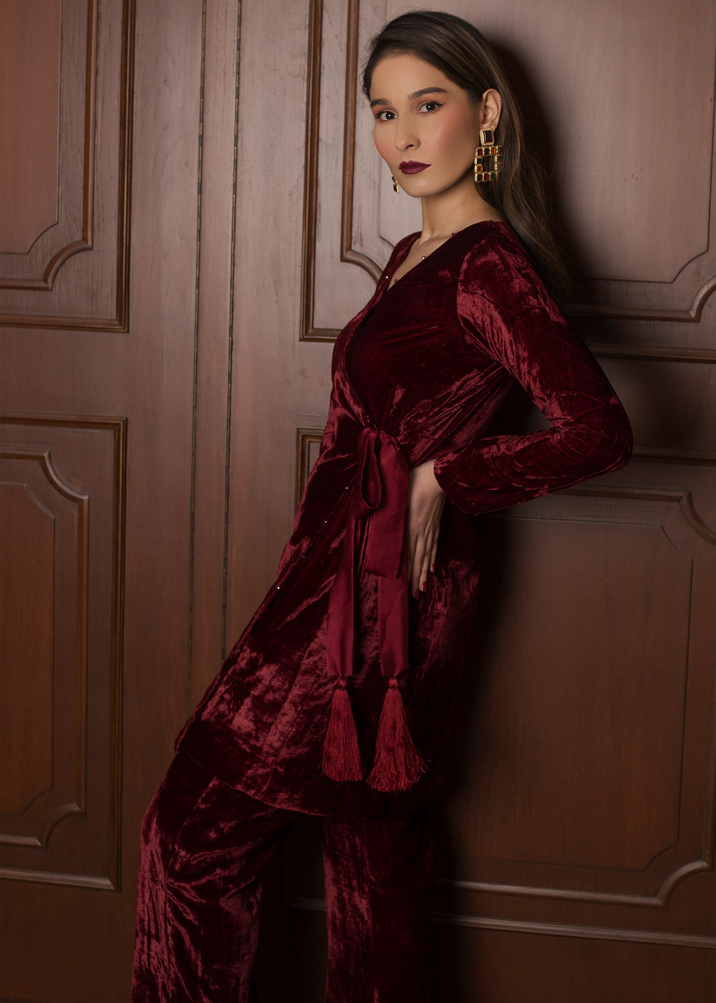 Maroon Velvet Co ord Set with Silk Belt and Tassels