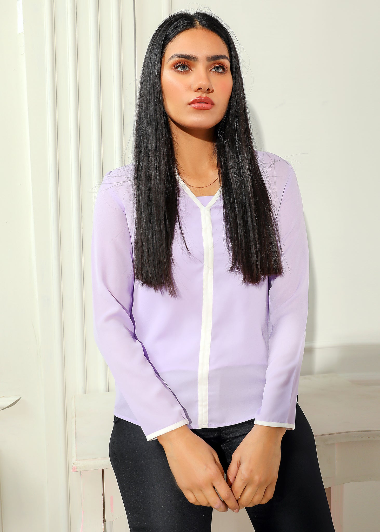Lilac Blouse with White Detail