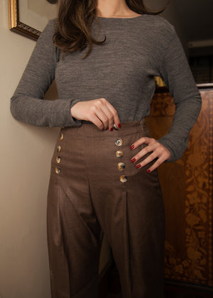 Brown Classic Pants with Buttons