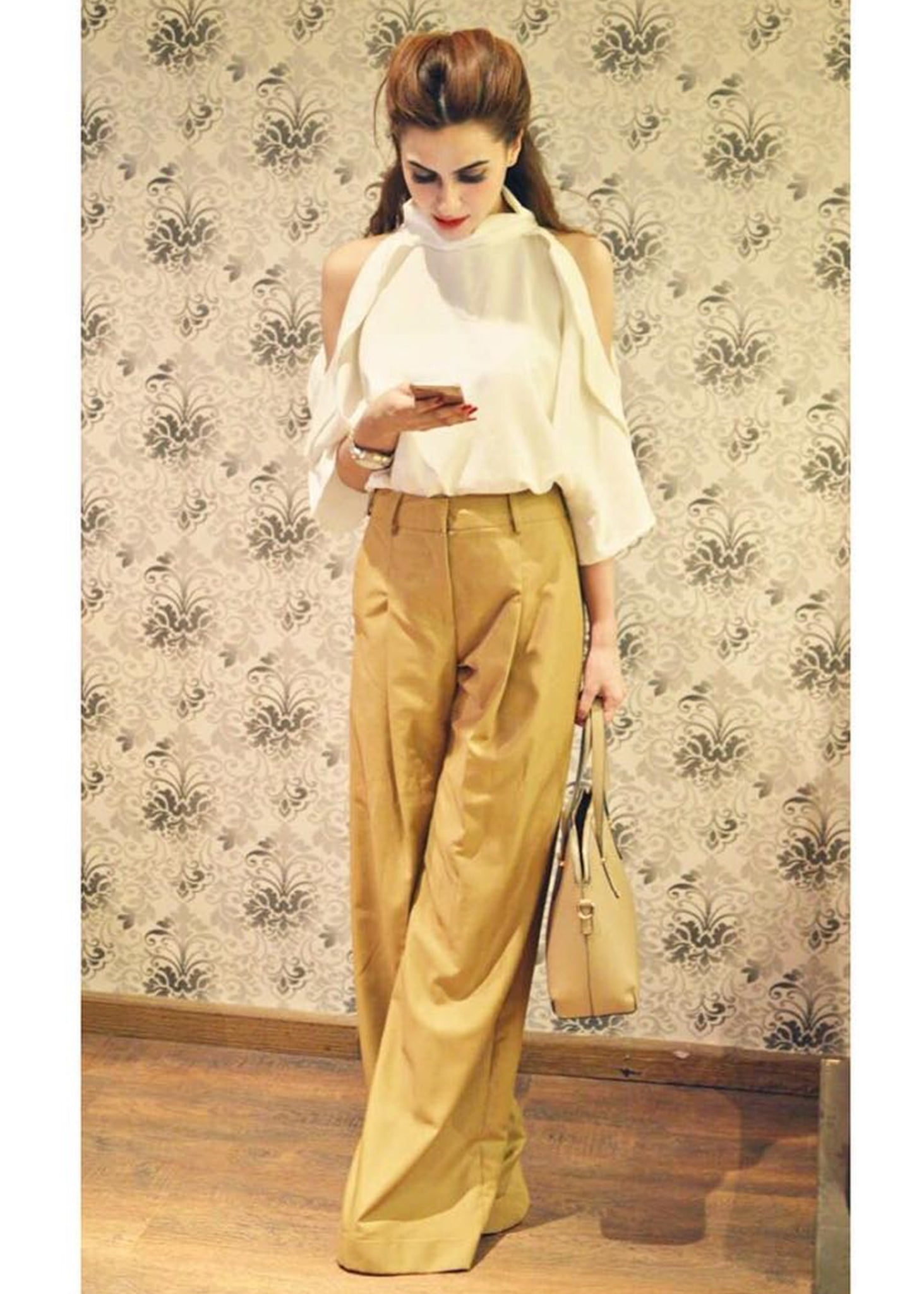 Khaki Full Length Pants and White Cold Shoulder Top