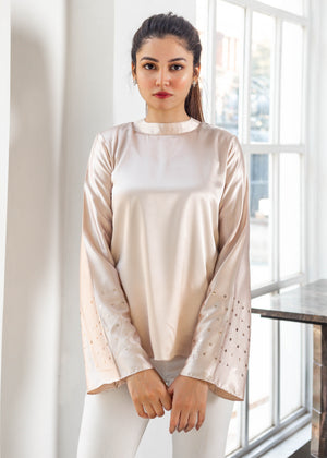 Ice Pink Mock Neck Top with Sequinned Sleeves