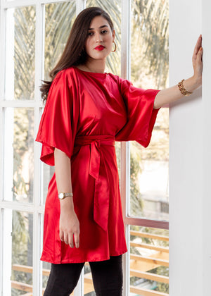 Kimono Sleeve Red Dress with Belt