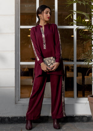 Maroon Co-Ord Set with Snake Skin Detail
