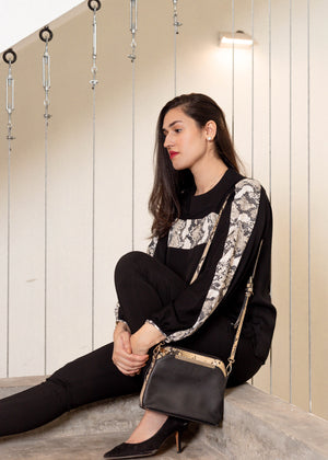 Black Mock Neck Blouse with Snake Skin Detail