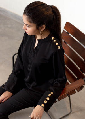 Black Blouse with Shoulder and Cuff Button Detail
