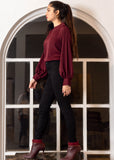 Maroon Blouse with Gathered Puff Sleeves