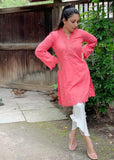 Peach Chicken Kurta with Scallops and Lace Detailing