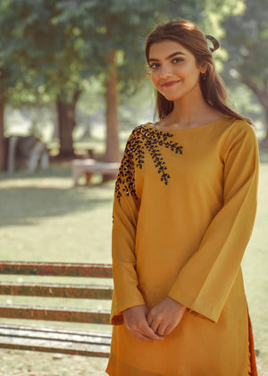 Mustard Yellow and Black Mirror work Embroidered Kurta and Pants