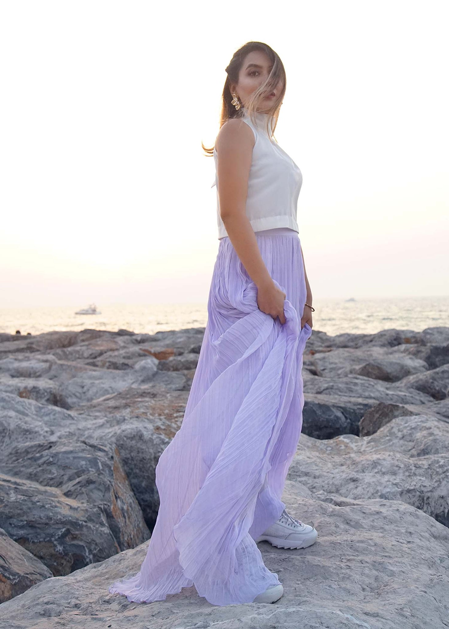 White halter top with Lilac gathered Chiffon skirt
