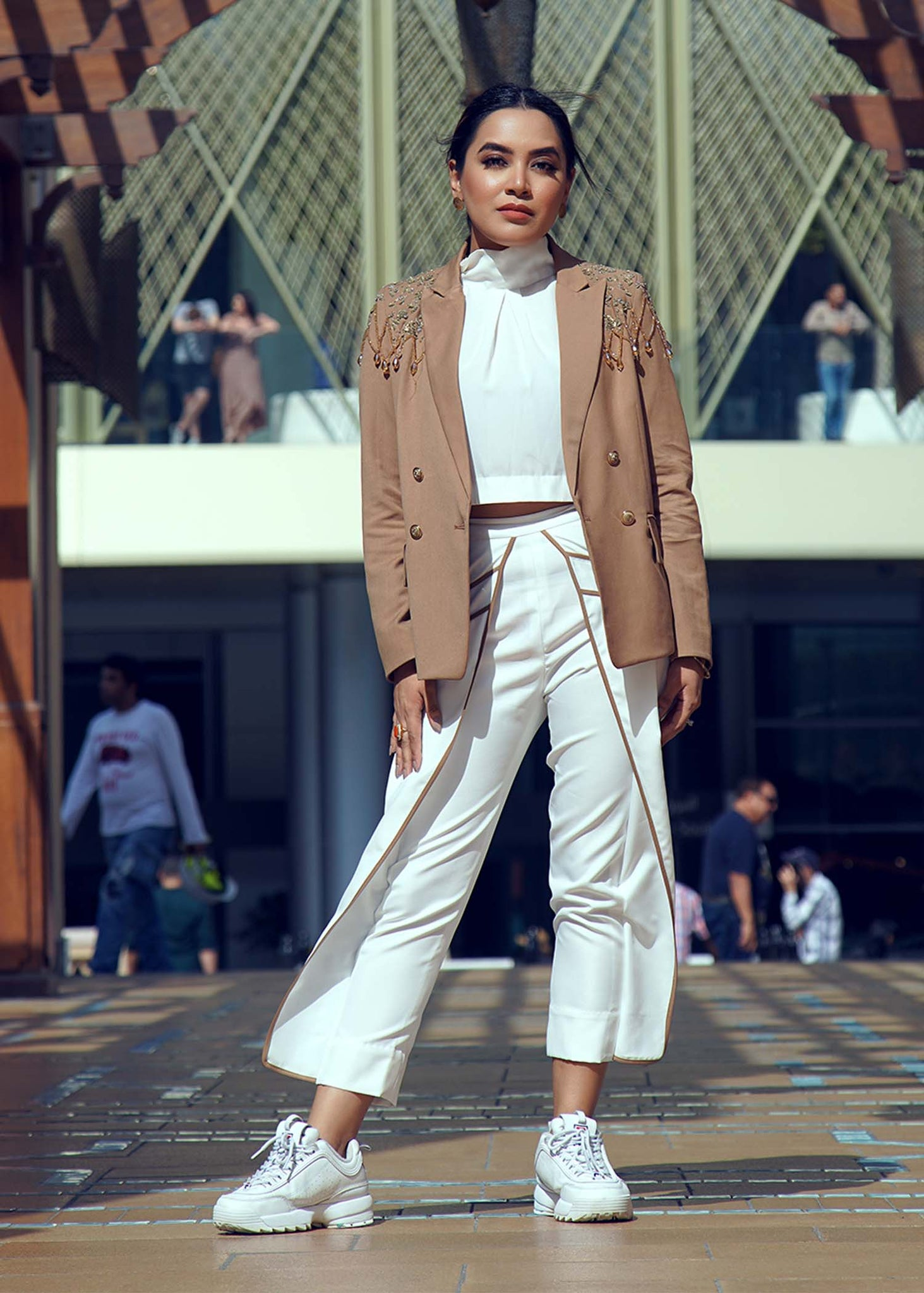 Embellished Blazer with White Pants with Brown Detailing and White Halter Top