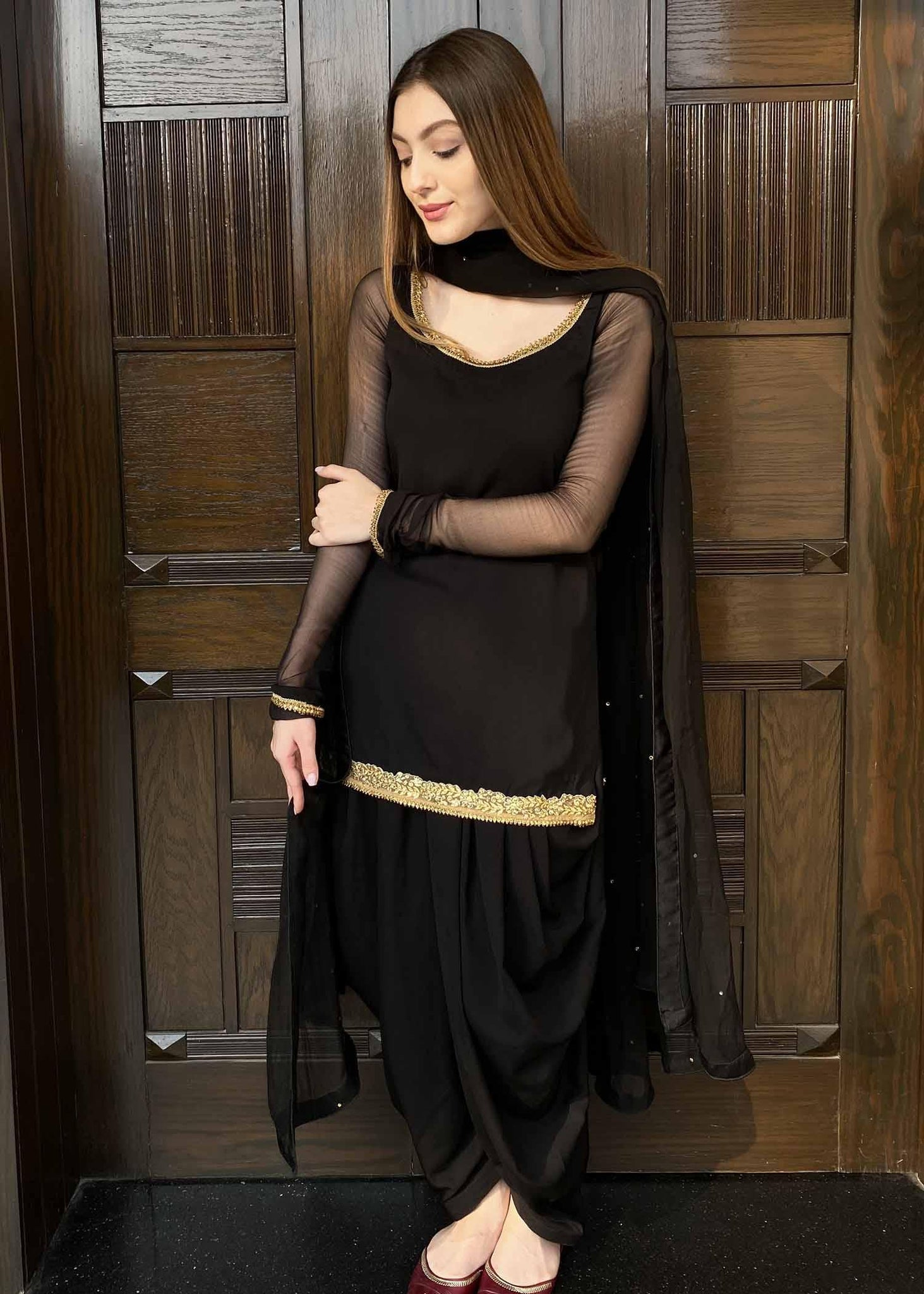 Black and Gold Kurta with Patiala Shalwar