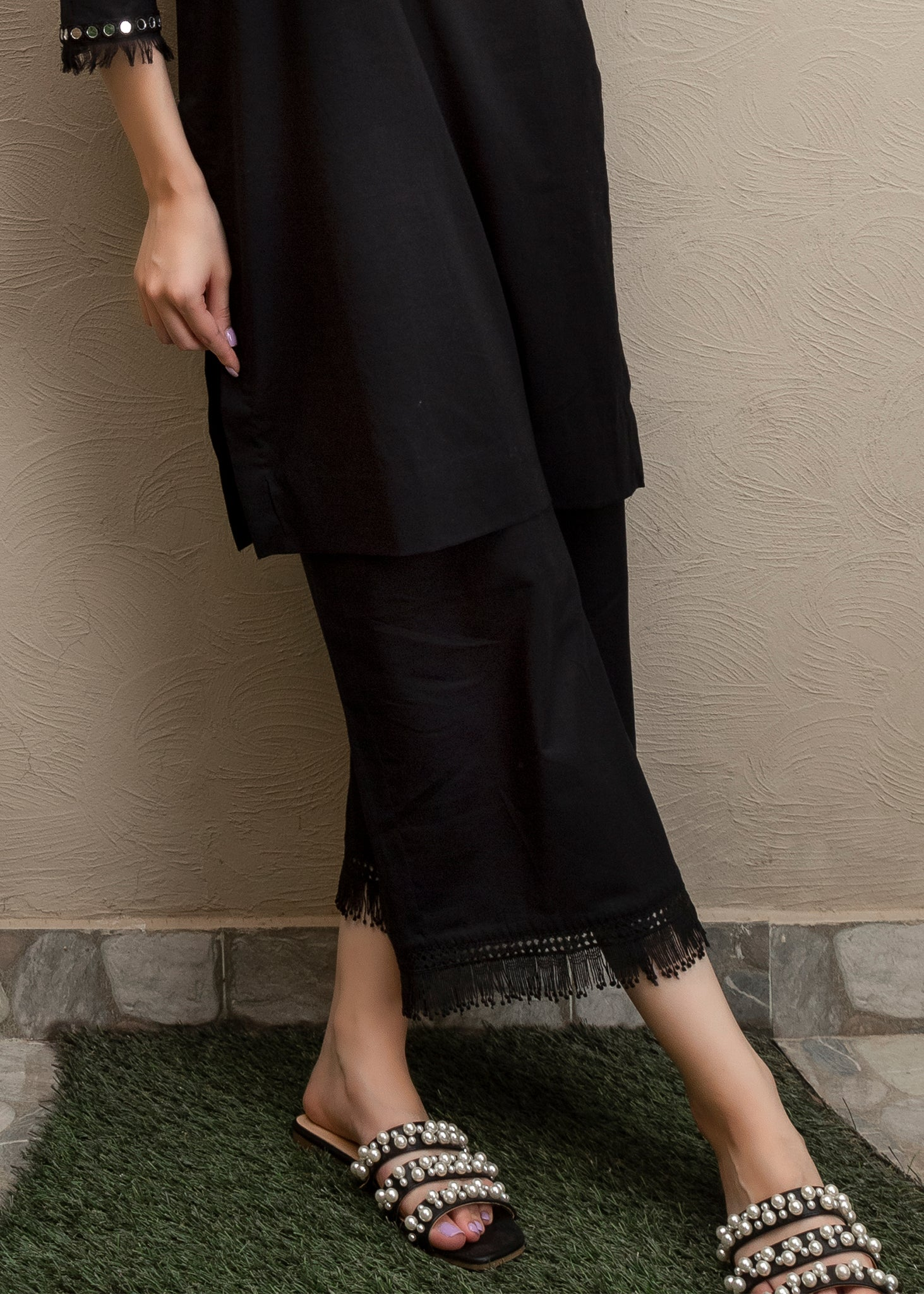 Black trouser with frayed lace detailing