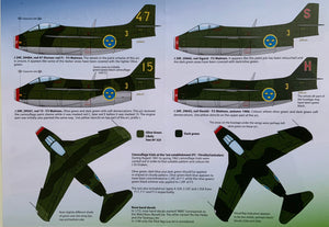 "SAAB j 29 A/B/C/F Decals ""Tunnan Part III"" 48D021 1/48 scale"