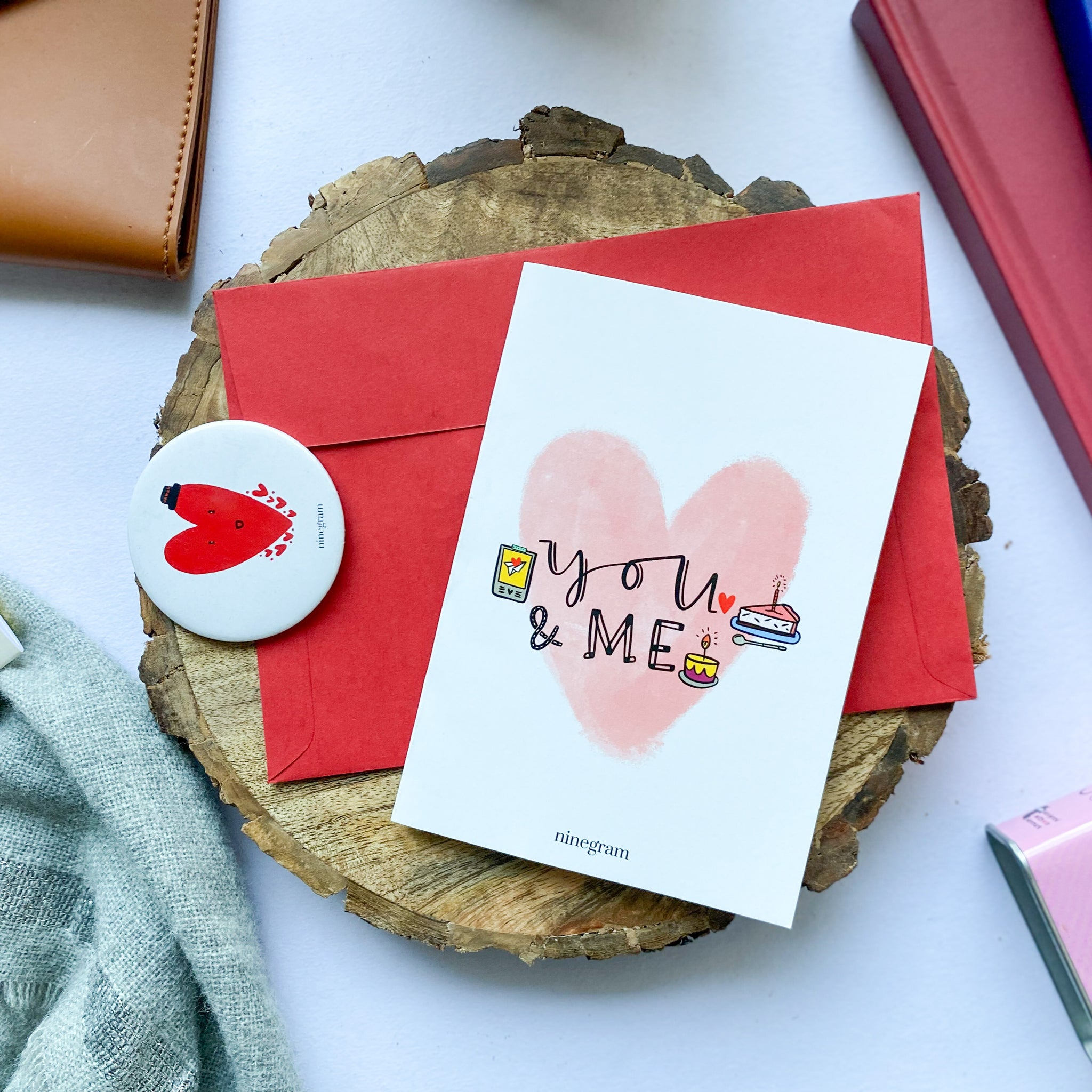 You and me love card + heart badge - ninegram.in