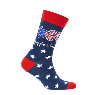 PUPPIE LOVE Brand Youth Crew Socks USA PUP - Novelty Socks for Less