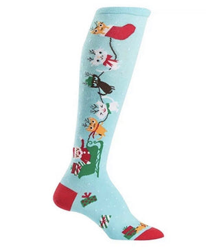 SOCK IT TO ME Ladies KNEE HIGH 'JINGLE CATS' - Novelty Socks for Less