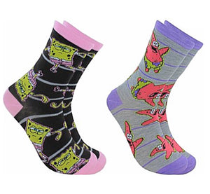 SPONGEBOB SQUAREPANTS LADIES 2 PAIR CREW SOCKS WITH PATRICK