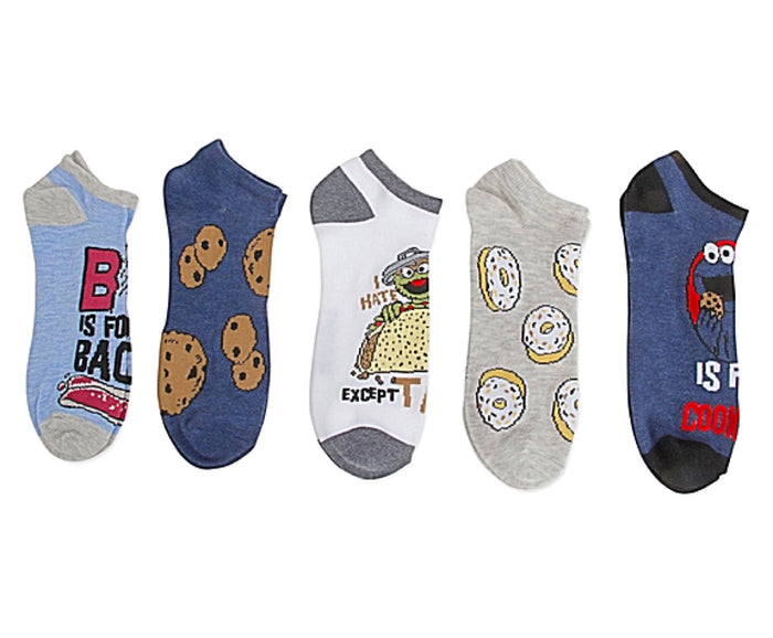 SESAME STREET Men's 5 Pair No Show Socks