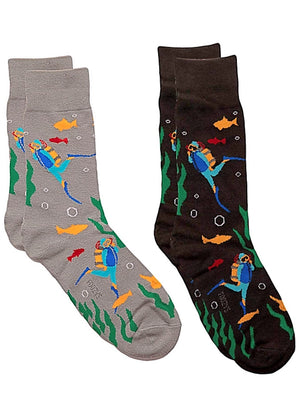 FOOZYS BRAND MEN'S 2 PAIR SCUBA DIVING/DIVER SOCKS