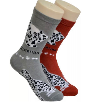 FOOZYS BRAND Ladies 2 Pair DALMATIAN Dog - Novelty Socks for Less