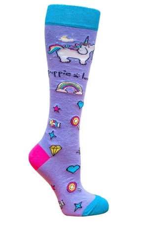 PUPPIE LOVE Brand Adult Knee High UNICORN PUP - Novelty Socks for Less
