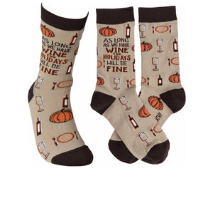 PRIMITIVES BY KATHY LOL LADIES SOCKS 'AS LONG AS WE HAVE WINE, HOLIDAYS WILL BE FINE' - Novelty Socks for Less