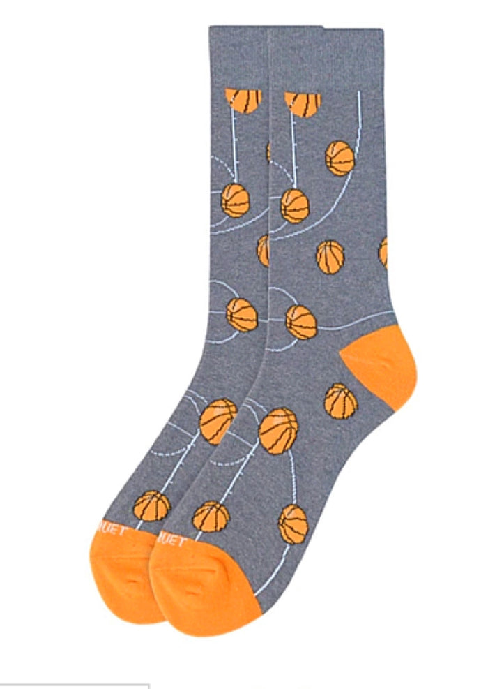 PARQUET BRAND MEN'S BASKETBALL GRAY CREW SOCKS