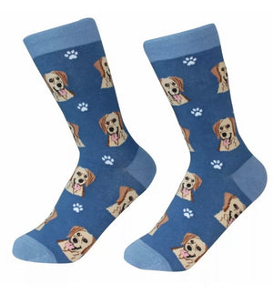 SOCK DADDY Brand Unisex YELLOW LABRADOR Dog E&S Pets - Novelty Socks for Less