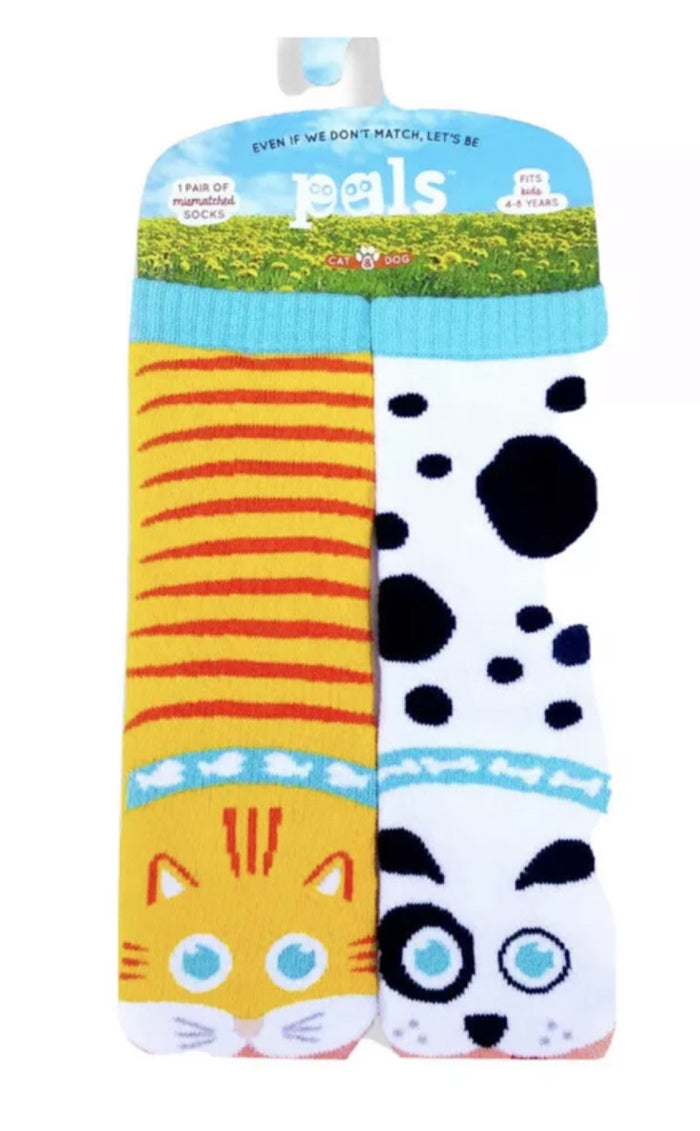 PALS SOCKS Brand KIDS CAT & DOG MISMATCHED GRIPPER SOCKS
