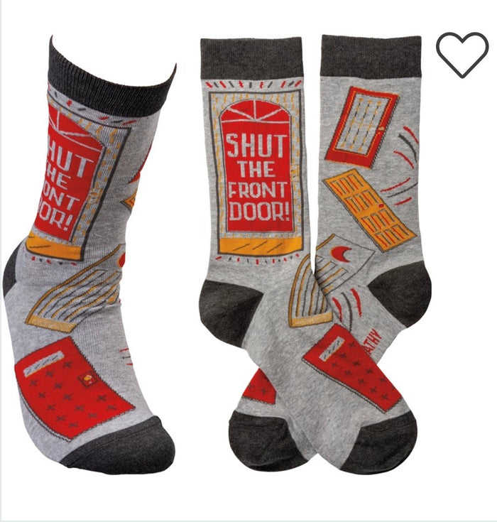 PRIMITIVES BY KATHY Unisex 'SHUT THE FRONT DOOR' Socks OSFM