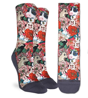 GOOD LUCK SOCK Brand Ladies FLORAL FARM ACTIVE FIT CREW SOCKS