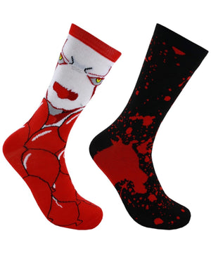 IT THE MOVIE Men's 2 Pair PENNYWISE Socks