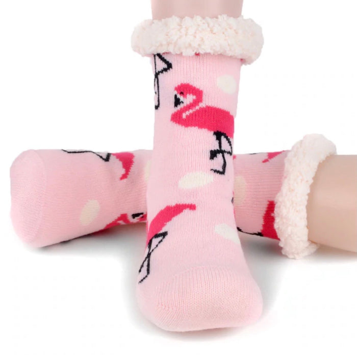NOLLIA BRAND LADIES PINK FLAMINGOS NON-SKID SHERPA SLIPPER SOCKS