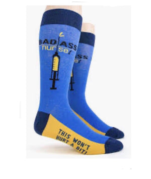 FOOT TRAFFIC Mens 'BAD ASS NURSE' - Novelty Socks for Less