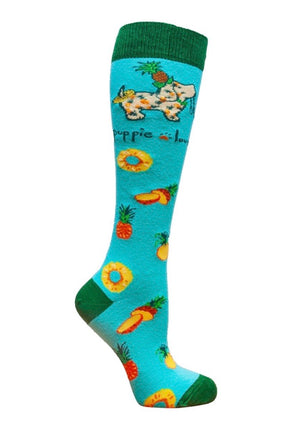 PUPPIE LOVE Brans Adult Knee PINEAPPLE PUP - Novelty Socks for Less