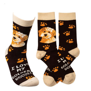PRIMITIVES BY KATHY GOLDEN-DOODLE DOG Socks - Novelty Socks for Less