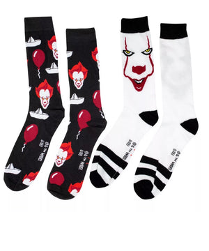 IT THE MOVIE Mens 2 Pair PENNYWISE Socks - Novelty Socks for Less