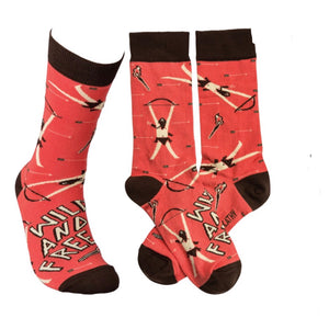 Primitives by Kathy UNISEX 'WILD AND FREE' Crew Socks OSFM - Novelty Socks for Less