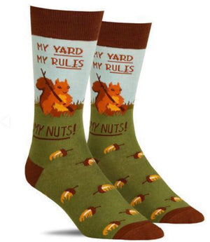 FOOT TRAFFIC Men's  'MY YARD MY RULES MY NUTS! - Novelty Socks for Less