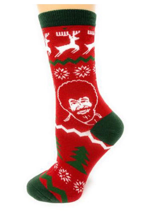 OOOH YEAH Brand Ladies BOB ROSS 'MERRY BOB' - Novelty Socks for Less