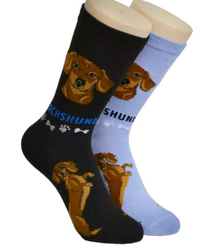 FOOZYS Ladies 2 Pair DACHSHUND - Novelty Socks for Less