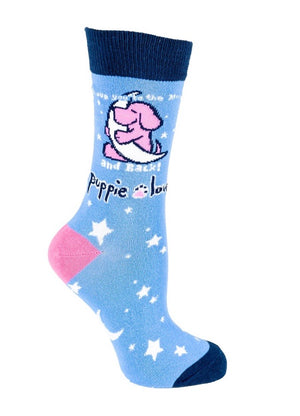 PUPPIE LOVE Adult Socks LOVE TO MOON/BACK - Novelty Socks for Less