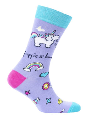 PUPPIE LOVE Brand Adult Socks UNICORN PUP - Novelty Socks for Less